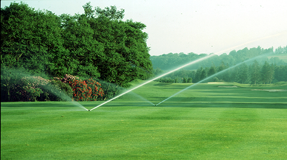 Golf course with sprinklers